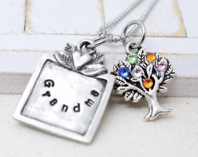 Nana Necklace, Mothers Day Gift for Nana, Grandma Necklace, Family Tree Necklace, Birthstone Necklace, Mom Silver Necklace, Gift for Grandma