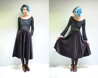 70s Velvet Skirt  //  Circle Midi Skirt  //  PLUM PUDDING