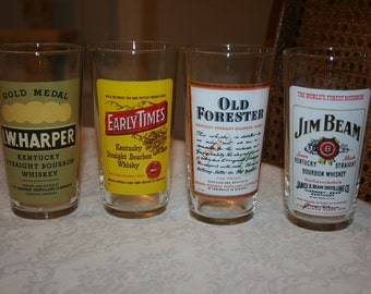 Four 4 Vintage Bar Barware Scotch Whiskies Glasses Glassware Tumblers Jim Beam, Early Times, I W Harper, Old Forester