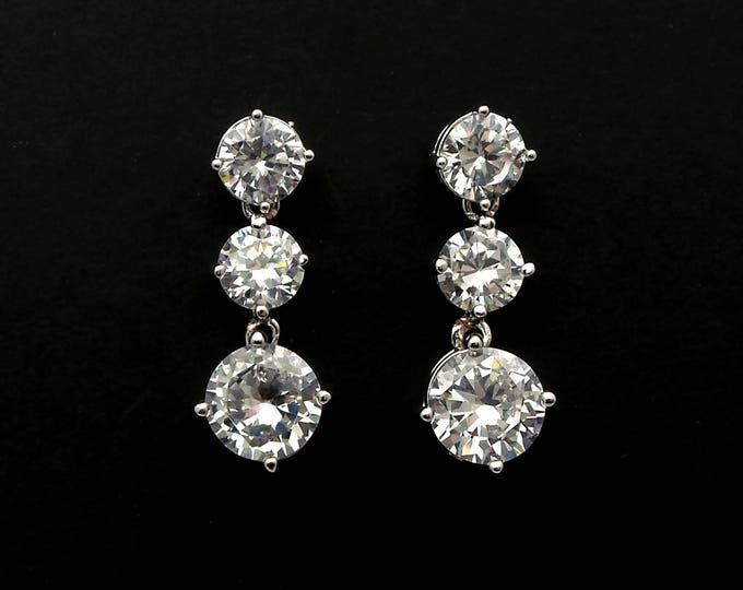 bridal earrings jewelry bridesmaid gift 6mm 8mm wedding earrings Clear white round drop cubic zirconia round AAA cz post diamond solitaire