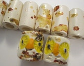 9 vintage ceramic beads - OWLS and tubes - macrame beads