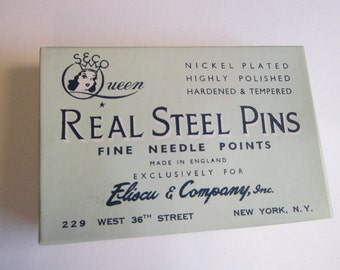 vintage QUEEN steel pins with box - nickel plated real steel pins - Seco Queen notions - 1/4 pound box, number 17