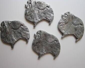 4 vintage aluminum Pomeranians - reuse as ornaments, wind chime embellishments, etc