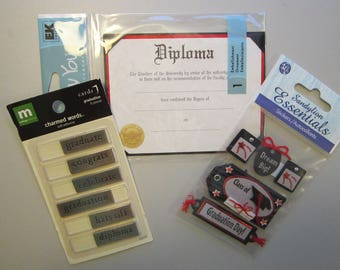 GRADUATION embellishments - metal words, Diploma for scrapbooking, stickers