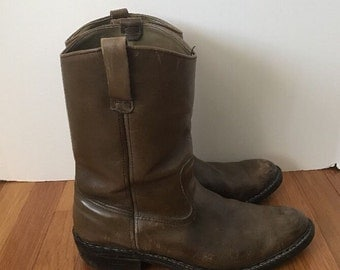 SALE Vintage Mens Browning Sportsmans Boots Size 11D Taupe Brown Leather Pecos Boot Cowboy For Him Western Style Horseback Riding Rugged