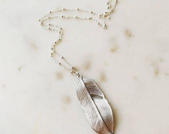 Silver feather pendant necklace, feather necklace, modern pretty jewelry