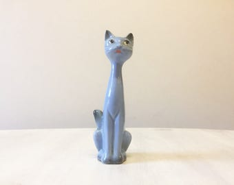 Blue cat figurine, vintage cat, ceramic cat, porcelain cat, vintage figurine, cat collectible, cat decor, cat statue, cat retro, cat lover