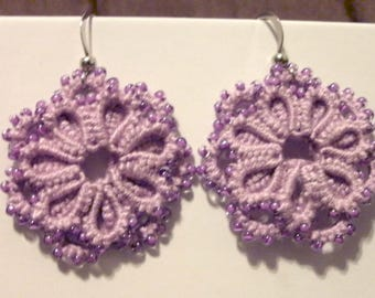 Lilac tatted lace and bead earrings