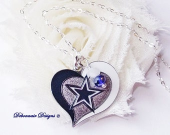 Dallas cowboys jewelry dallas cowboys necklace cowboys dallas cowboys necklace cowboys heart charm necklace women pro football necklace dallas cowboy aloadofball