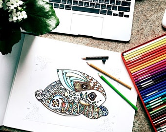 zentangle bunny printable coloring page ~ animal - Instant Download only, Art Printable illustrations
