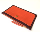 La Lisette leather make up case wallet Burgundy red orange color block leather purse leather case