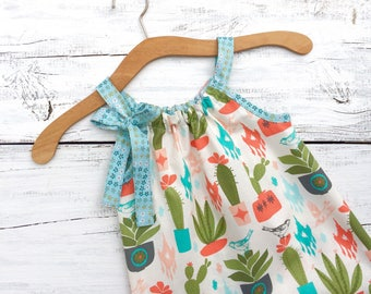 Boho Baby Dress, Girls Cactus Dress, Little Girls Dress, Girls Summer Dress, Girls Sun Dress, 2t Baby Girl Dress, Cotton Girls Dress