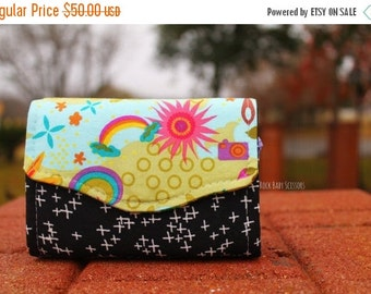 Clover Sunshine Rainbow and Police Box Mini Necessary Clutch Wallet (NCW) with multiple interior pocket and card slots