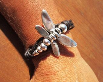 Dragonfly bracelet, Womens bracelets, Silver Bracelet,  leather bracelet, bangle Bracelet, custom jewelry, handmade jewelry