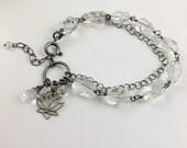 Crystal quartz bracelet, silver gemstone bracelet, romantic retro bracelet
