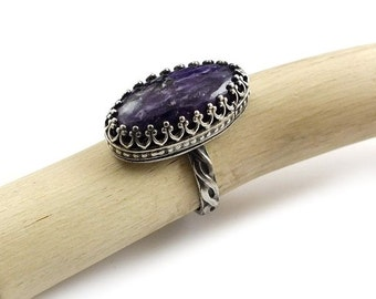 Charoite retro ring, metalwork ring, sterling silver jewelry, gemstone ring