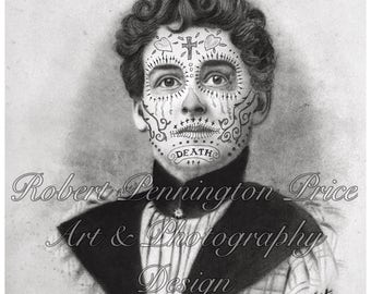 Day of the Dead Art / Sugar Skull / Altered Art / Mixed Media  Black and White Print / Victorian Portrait / Death Mask  / Robert Price