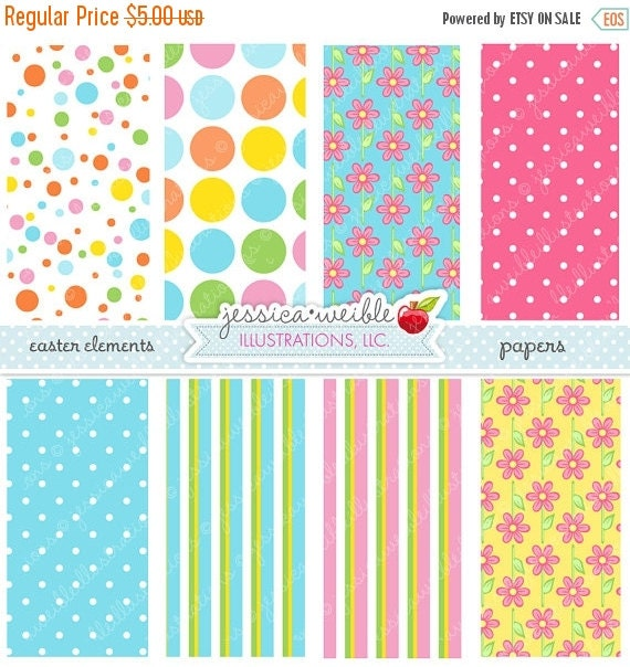ON SALE Easter Elements Cute Digital Papers - Commercial Use OK - Easter Patterns, Easter Backgrounds, Easter Papers