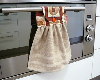 Hanging Hand Towel - taupe beige with brown hot chocolate coffee latte