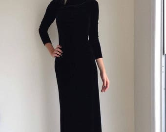 vintage black velvet maxi dress 90s keyhole back gothic  bodycon grunge cocktail party open back size small sheath long sleeve 1990s