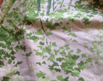 Vintage Retro Twin Flat Sheet Trees Leaves