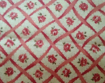 Ribbons Roses Lattice Floral Cotton Quilting Fabric