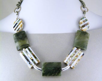 Green Jade, Mother of Pearl Statement Necklace