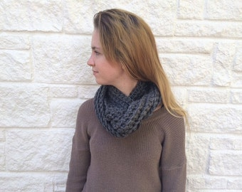 Hand Crocheted Infinity Scarf in Gun Metal Gray - Ready to Ship