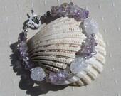 "Ametrine & Crackled Clear Quartz Crystal Gemstone Bracelet ""Lavender Dew"", Quartz Bracelet, Chakra Bracelet, Ametrine Bracelet, Spiritual"