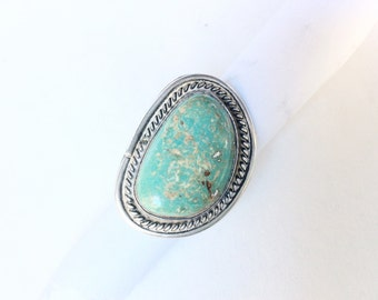 turquoise sterling silver ring  size 4.25 large Genuine Turquoise Native American