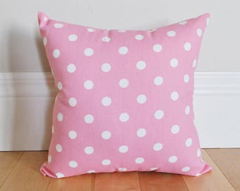 Polka Dot Pillow Covers - Bright Pink with White Polka Dot - Decorative Pillow Covers - Throw Pillow covers - Pink Pillow Covers - Nursery
