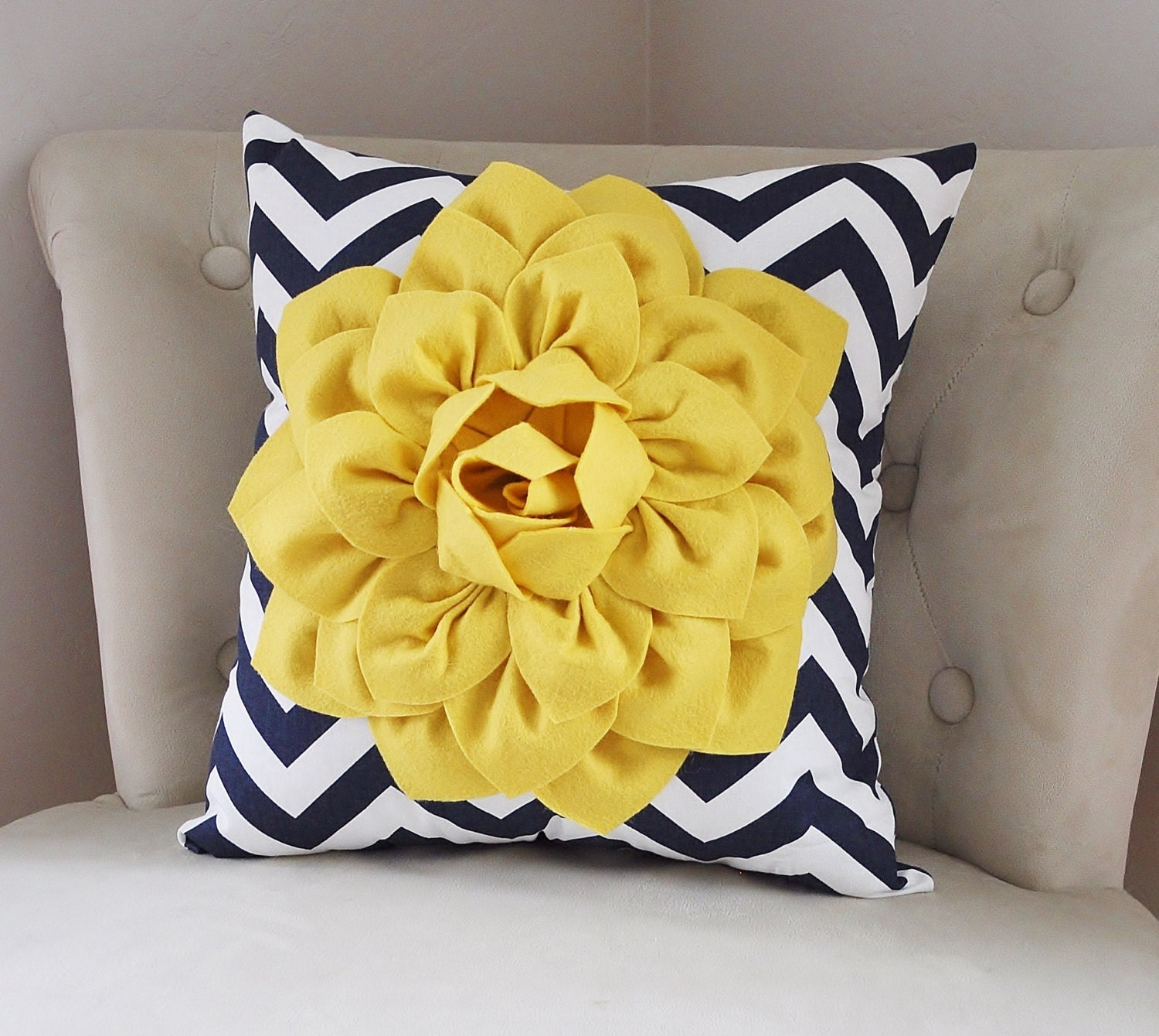 Navy Blue and Yellow Pillow Covers Decorative Throw Pillow