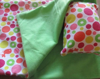 18 inch doll sleeping bag, pink and green dot doll bedding for 18 inch dolls