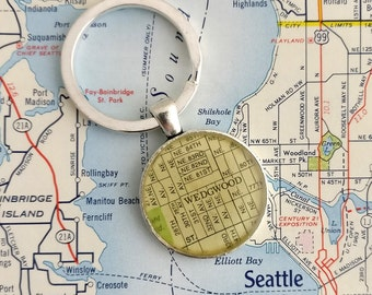 Wedgwood Seattle vintage map keychain | geography gift | key ring