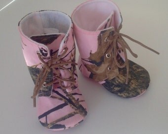 Pink Camo Baby Boots | Lace Up | Newborn size up to 3T | FREE Shipping in the US