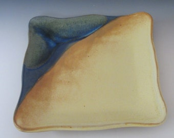 Square plate / handmade / serving plate / stoneware / high fired / blue / pottery / cheese plater / decorative / dining
