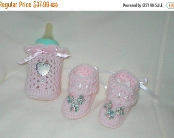 40% OFF RETIRING SALE Crochet Baby 0-3 Mts 4 Oz. Bottle Cover Baby Pink Beaded Tribud Venise Lace Appliques Booties Gift Set