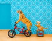 Tiger mom bmx bicycle diorama art print in bright blue retro style: Tiger Mom