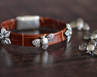 Spring Bracelet Garden Bracelet Silver Bracelet Leather Bracelet Bee Bracelet Bumblebee Bracelet Flower Bangle  Jewelry Gift For Gardener