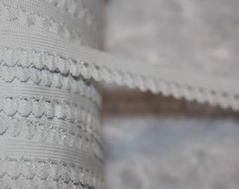 """Lot Wholesale roll 100 yards WHITE PICOT edged loop stretch doll craft elastic 1/2"""" inch"""