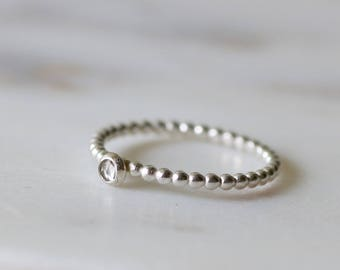 Dainty white topaz ring, April birthday gift, April birthstone jewelry, sterling silver stacking ring, tiny birthstone ring - Juliet
