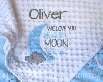 Stroller blanket- name baby blanket- white grey baby blue I love you to the moon and back elephant- moon and stars stroller blanket