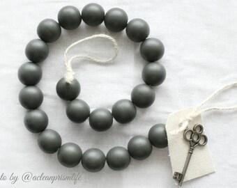 Gray Wood Bead Garland - Gray Ball Garland - Key to Decor Beads Gray Garland - Grey Wooden Bead Garland - Grey Wood Bead Garland