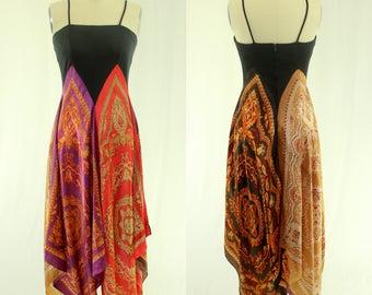 1970's Boho Scarf Sun Dress S M Hippie