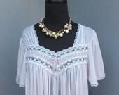 Vintage MISS ELAINE Pale Pink Romantic  Nightgown, Feminine Romantic Sweet Lingerie, Size MEDIUM, 36
