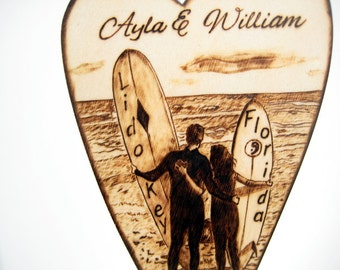 Beach Wedding Cake Topper, Surfers Silhouette Couple, Wood Heart, Personalized Wedding Pyrography