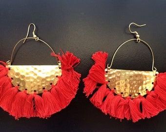 CLEARANCE SALE Red Gold earrings,Red Tassel earrings,festival jewelry-fringe earrings-Boho earring-Bohemian Gypsy -Coachella earring AE235RG