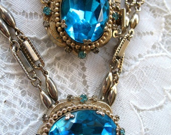 Vintage Necklace & Bracelet Set ~ Coro ~ Chunky Turquoise Stones