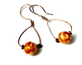 Copper Earrings, Orange Dangle Earrings, Bead Dangle Earrings, Handcrafted Jewelry