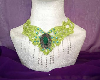 Green and blue filigree lace necklace